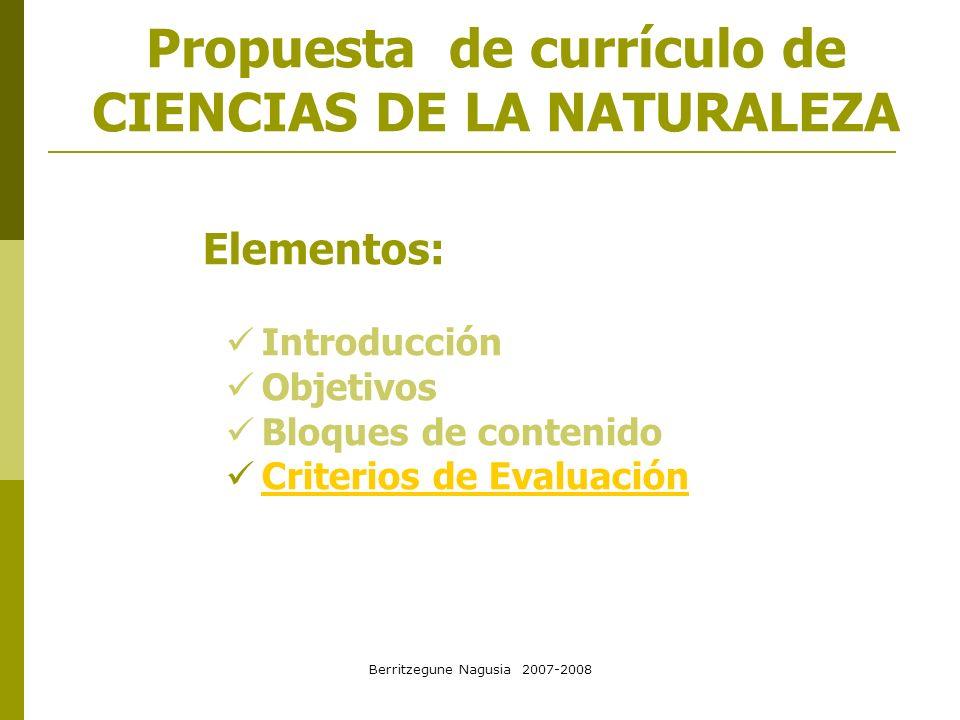 Berritzegune Nagusia 2007-2008 CRITERIOS DE EVALUACIÓN Se especifican para cada curso.