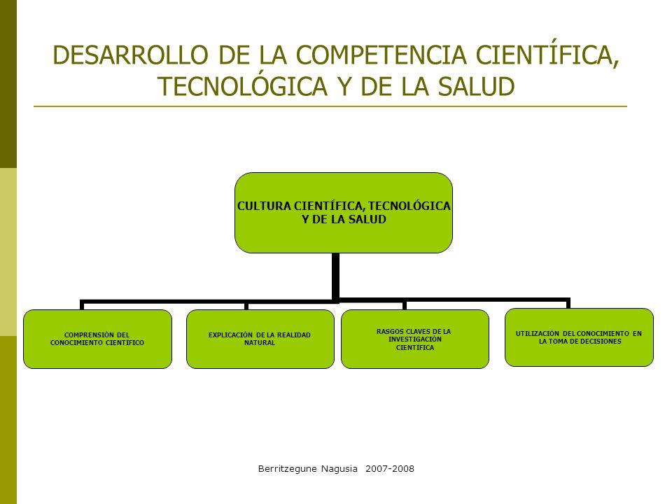 Berritzegune Nagusia 2007-2008 DESARROLLO DE LA COMPETENCIA CIENTÍFICA, TECNOLÓGICA Y DE LA SALUD