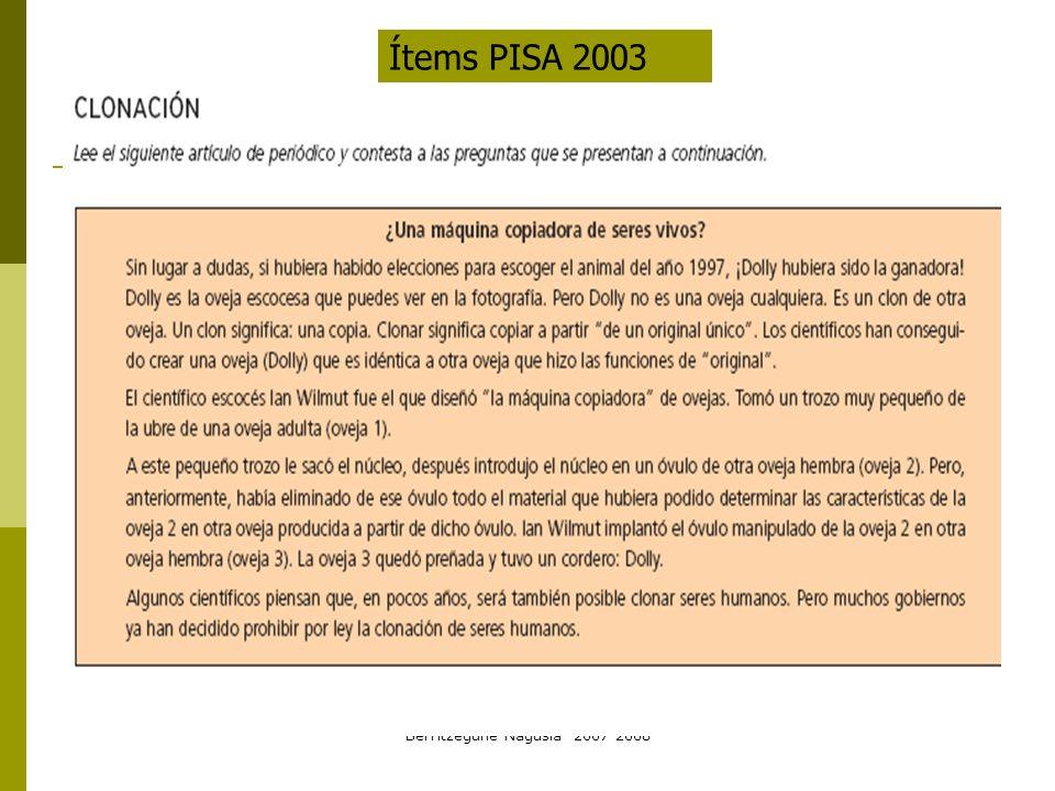Berritzegune Nagusia 2007-2008 Ítems PISA 2003