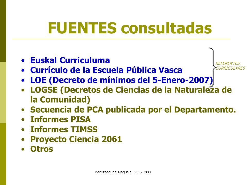 Berritzegune Nagusia 2007-2008 FUENTES consultadas Euskal Curriculuma Currículo de la Escuela Pública Vasca LOE (Decreto de mínimos del 5-Enero-2007)
