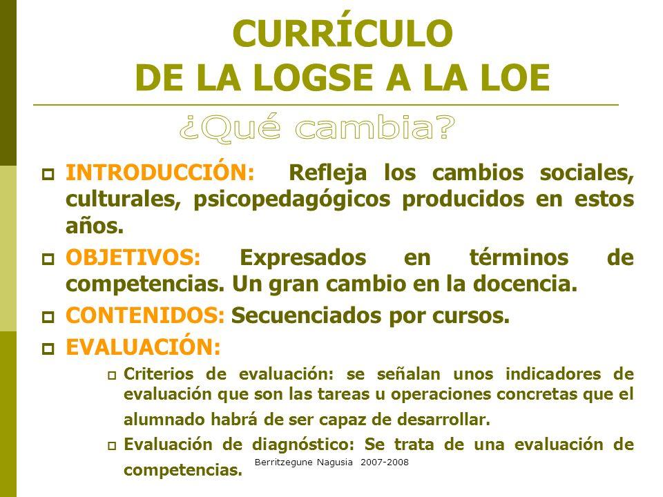 Berritzegune Nagusia 2007-2008 CURRÍCULO DE LA LOGSE A LA LOE INTRODUCCIÓN: Refleja los cambios sociales, culturales, psicopedagógicos producidos en e