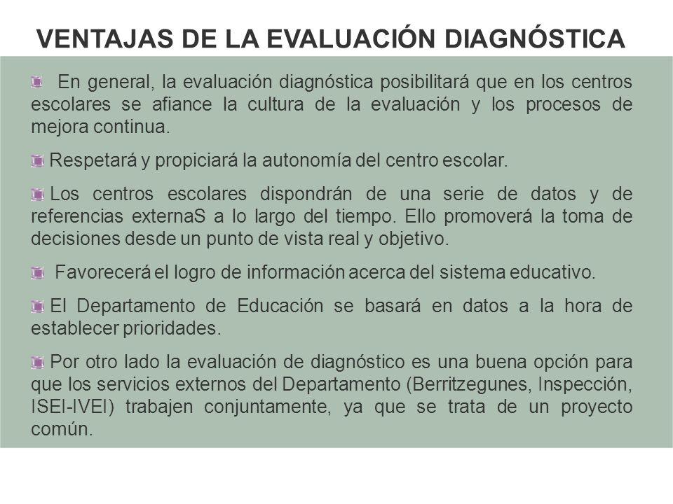 VENTAJAS DE LA EVALUACIÓN DIAGNÓSTICA En general, la evaluación diagnóstica posibilitará que en los centros escolares se afiance la cultura de la eval
