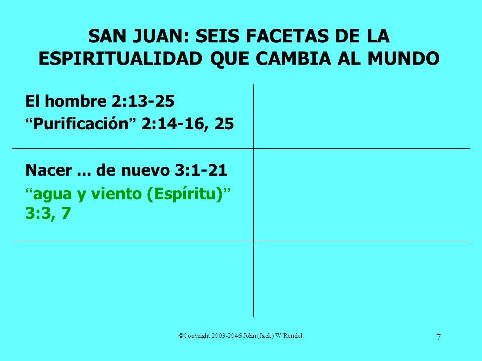 ©Copyright 2003-2046 John (Jack) W Rendel. 7 El hombre 2:13-25 Purificación 2:14-16, 25 Nacer... de nuevo 3:1-21 agua y viento (Espíritu) 3:3, 7 SAN J