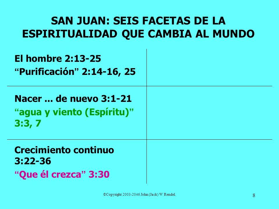 ©Copyright 2003-2046 John (Jack) W Rendel. 8 El hombre 2:13-25 Purificación 2:14-16, 25 Nacer... de nuevo 3:1-21 agua y viento (Espíritu) 3:3, 7 Creci