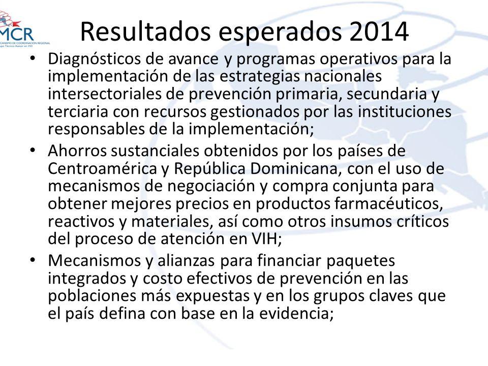 Resultados esperados 2014 Diagnósticos de avance y programas operativos para la implementación de las estrategias nacionales intersectoriales de preve