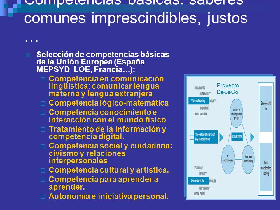 CONCEPTO y ORIGEN DE LAS CCBB ( Marchena 08) Conjunto de destrezas básicas…Conocimiento en acción CONFERENCIA MUNDIAL DE JOMTIEM, 1990: superar desigu