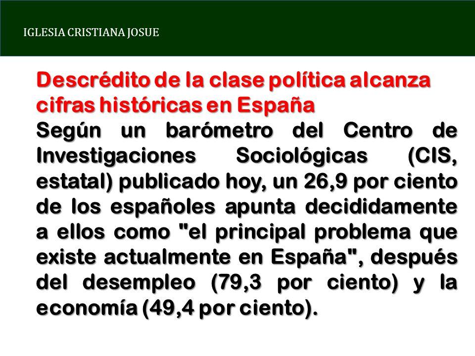IGLESIA CRISTIANA JOSUE Descrédito de la clase política alcanza cifras históricas en España Según un barómetro del Centro de Investigaciones Sociológi