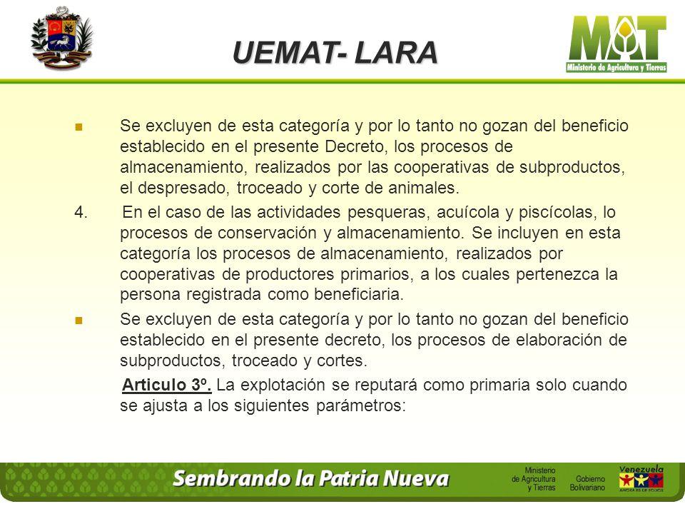 UEMAT- LARA 1. Se considera incluidos dentro de la actividad agrícola primaria, los procesos que se enumeran a continuación, siempre que sean realizad