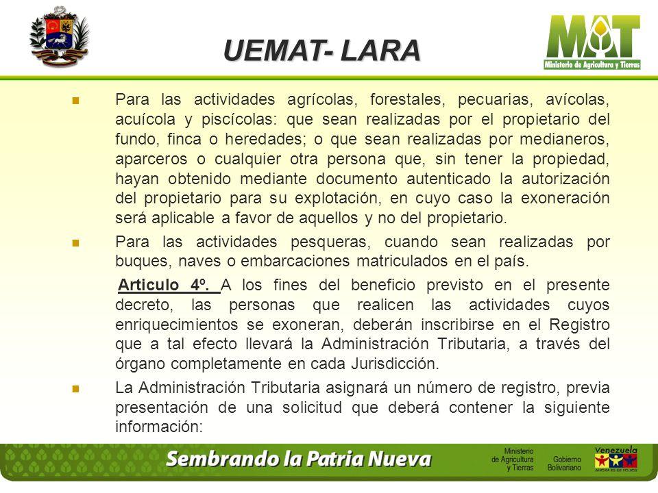 UEMAT- LARA Se excluyen de esta categoría y por lo tanto no gozan del beneficio establecido en el presente Decreto, los procesos de almacenamiento, re