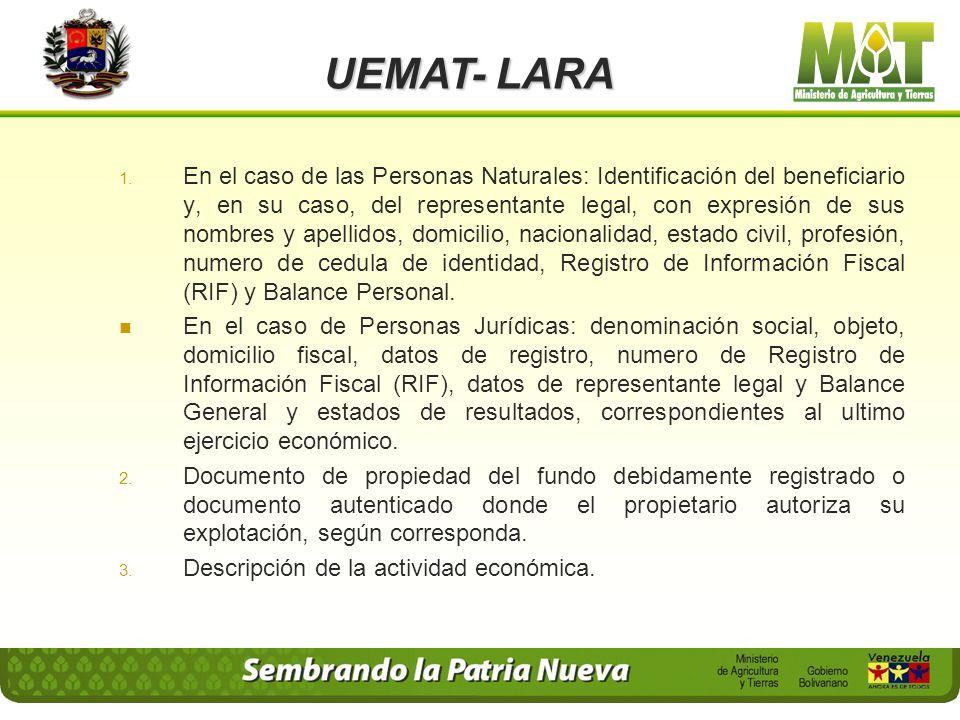 UEMAT- LARA Para las actividades agrícolas, forestales, pecuarias, avícolas, acuícola y piscícolas: que sean realizadas por el propietario del fundo,