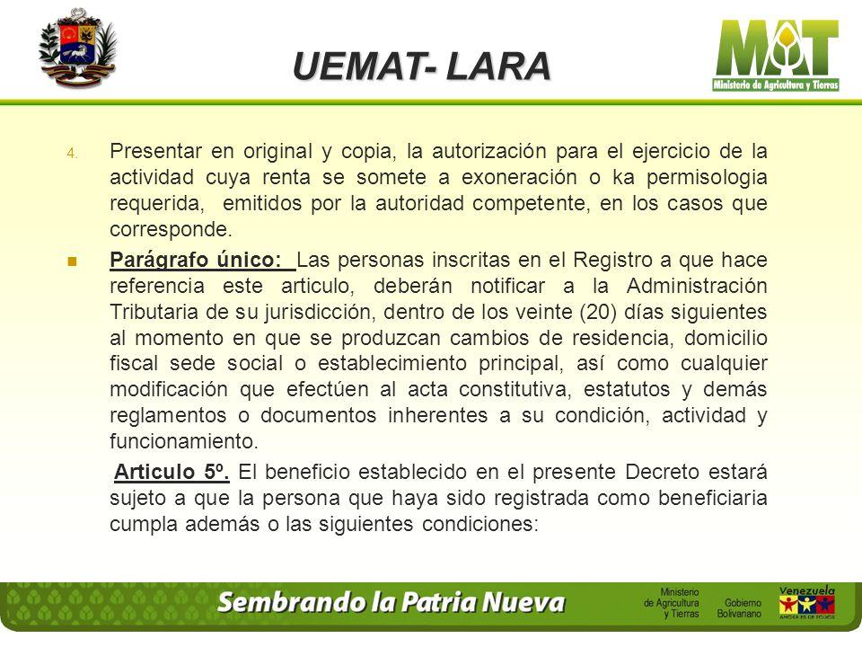 UEMAT- LARA 1. En el caso de las Personas Naturales: Identificación del beneficiario y, en su caso, del representante legal, con expresión de sus nomb