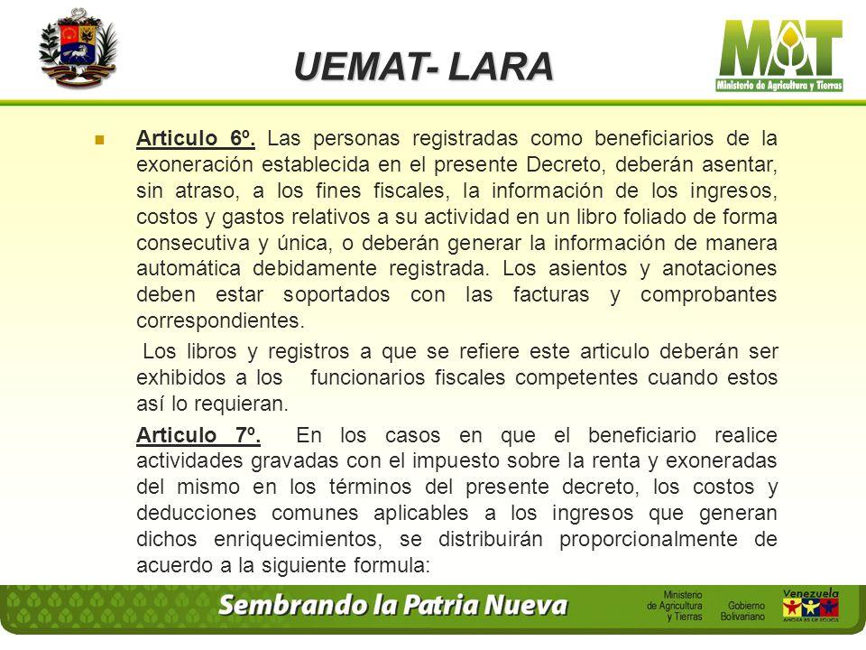 UEMAT- LARA 1. Destinar el cien por ciento (100%) del monto del impuesto que le hubiese correspondido pagar, a inversiones directas para la respectiva