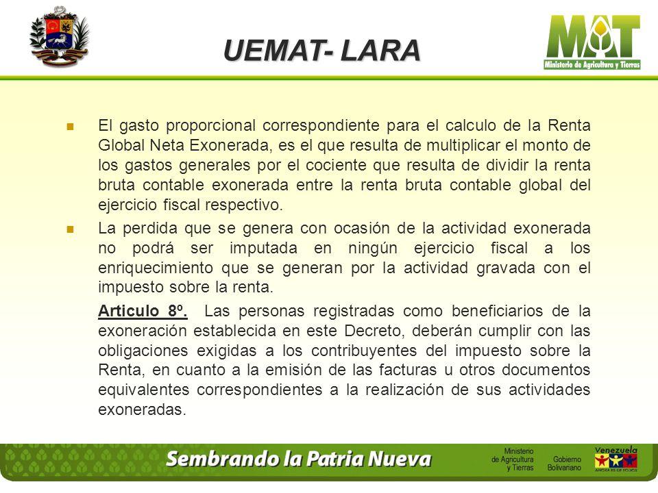UEMAT- LARA Articulo 6º. Las personas registradas como beneficiarios de la exoneración establecida en el presente Decreto, deberán asentar, sin atraso