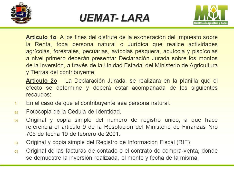 UEMAT- LARA Resolución Ministerial 091 de fecha 27-08-2002 Años 192 y 143 : De conformidad con lo establecido en el articulo 10 del Decreto Nro 838, d