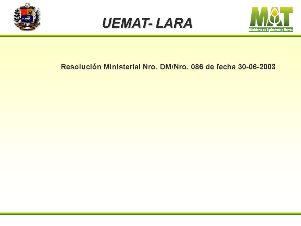 UEMAT- LARA Articulo 6º. El certificado de finca expedido por el Instituto Nacional de Tierras, se hará exigible a partir del 01 de enero del 2003. Ar