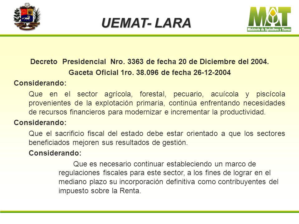 UEMAT- LARA Resolución Ministerial Nro. DM/Nro. 086 de fecha 30-06-2003