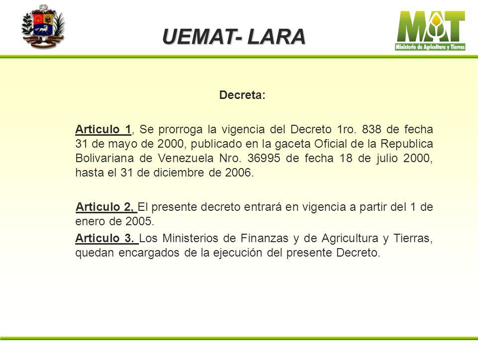 UEMAT- LARA Decreto Presidencial Nro. 3363 de fecha 20 de Diciembre del 2004. Gaceta Oficial 1ro. 38.096 de fecha 26-12-2004 Considerando: Que en el s