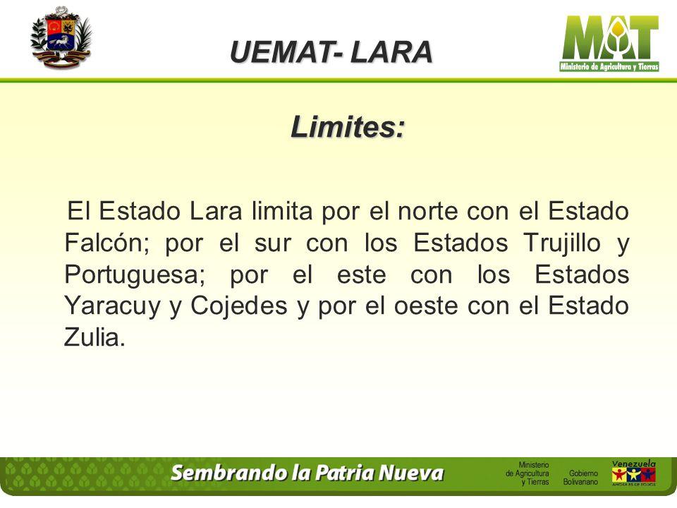 Limites: El Estado Lara limita por el norte con el Estado Falcón; por el sur con los Estados Trujillo y Portuguesa; por el este con los Estados Yaracuy y Cojedes y por el oeste con el Estado Zulia.