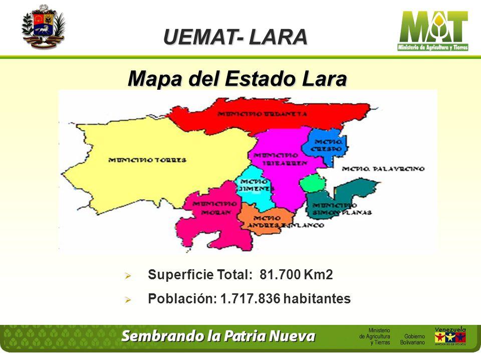 Mapa del Estado Lara UEMAT- LARA Superficie Total: 81.700 Km2 Población: 1.717.836 habitantes
