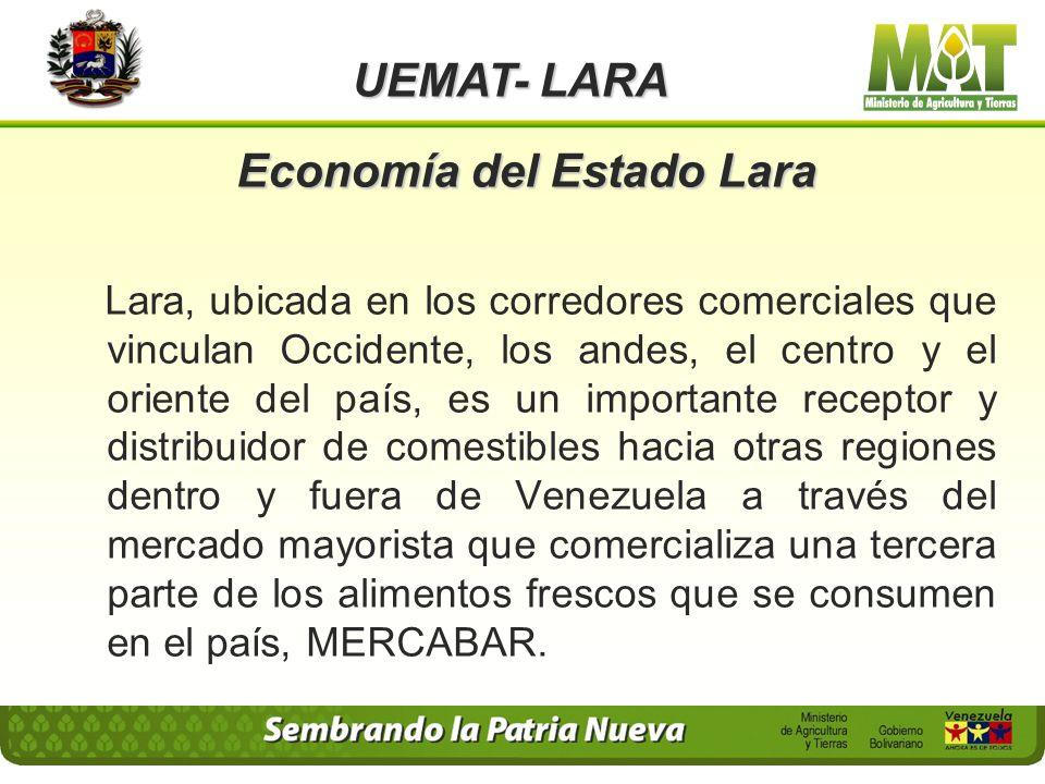 Principales Rubros explotados en el Estado Lara UEMAT- LARA Municipios Rubros Andrés Eloy BlancoCafé, papa, tomate, hortalizas. CrespoCafé, tomate, si