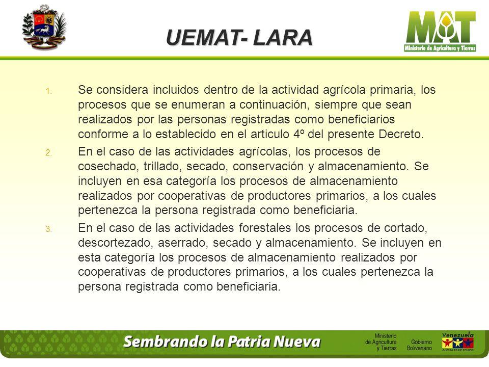 UEMAT- LARA Decreto Presidencial 838 Fecha: 31 de Mayo de 2000. Gaceta Oficial 1ro. 36.995 del 18-07-2000. Decreto: Articulo 1º. Se exoneran de pagos