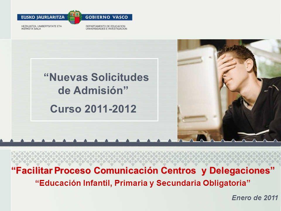 Nuevas Solicitudes de Admisión Curso 2011-2012 Enero de 2011 Facilitar Proceso Comunicación Centros y Delegaciones Facilitar Proceso Comunicación Cent