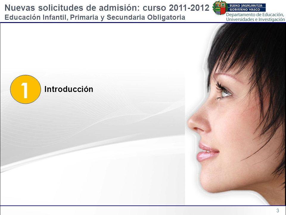 3 1 Introducción Nuevas solicitudes de admisión: curso 2011-2012 Educación Infantil, Primaria y Secundaria Obligatoria