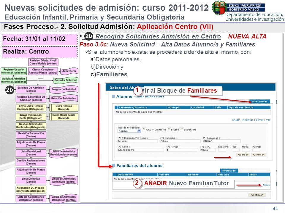 44 2b) Recogida Solicitudes Admisión en Centro – NUEVA ALTA Paso 3.0c: Nueva Solicitud – Alta Datos Alumno/a y Familiares Si el alumno/a no existe: se