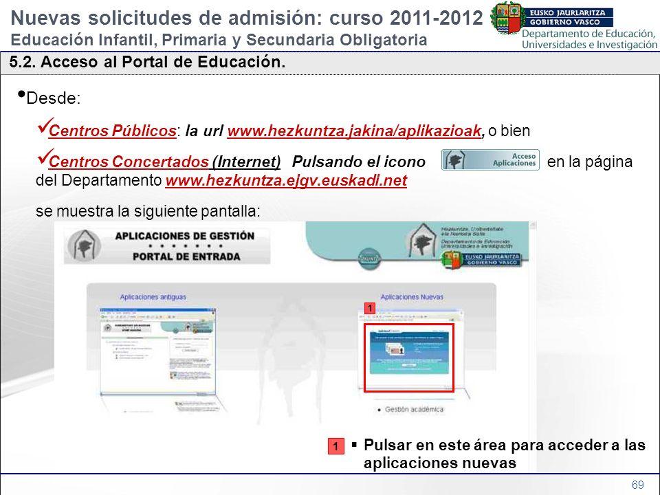 69 5.2. Acceso al Portal de Educación. Nuevas solicitudes de admisión: curso 2011-2012 Educación Infantil, Primaria y Secundaria Obligatoria Desde: Ce