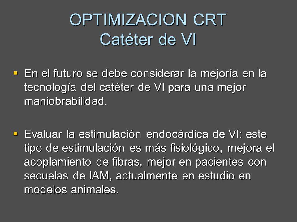 OPTIMIZACION CRT Catéter de VI En el futuro se debe considerar la mejoría en la tecnología del catéter de VI para una mejor maniobrabilidad. En el fut