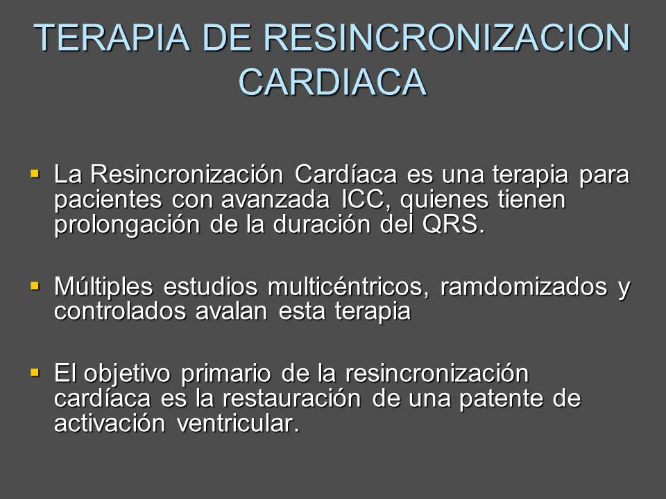 TERAPIA DE RESINCRONIZACION CARDIACA Pese a la correcta selección de pacientes entre el 25% y el 30% pueden NO responder a este tipo de tratamiento (pacientes no respondedores) Pese a la correcta selección de pacientes entre el 25% y el 30% pueden NO responder a este tipo de tratamiento (pacientes no respondedores) De los respondedores entre el 30% y 40% no mejora los parámetros ecocardiograficos ( De los respondedores entre el 30% y 40% no mejora los parámetros ecocardiograficos (Bleeker GB et al, Am J Cardiol 2006;97:260 –263)