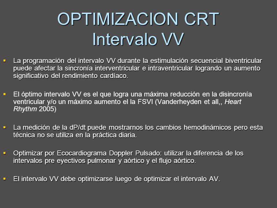 OPTIMIZACION CRT Intervalo VV La programación del intervalo VV durante la estimulación secuencial biventricular puede afectar la sincronía interventri