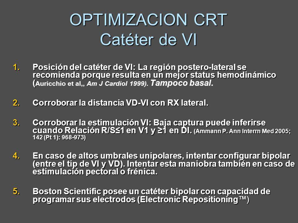 OPTIMIZACION CRT Catéter de VI 1.Posición del catéter de VI: La región postero-lateral se recomienda porque resulta en un mejor status hemodinámico (