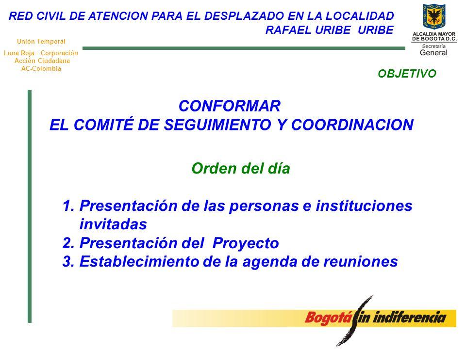 Unión Temporal Luna Roja - Corporación Acción Ciudadana AC-Colombia OBJETIVO Orden del día 1.Presentación de las personas e instituciones invitadas 2.Presentación del Proyecto 3.Establecimiento de la agenda de reuniones CONFORMAR EL COMITÉ DE SEGUIMIENTO Y COORDINACION RED CIVIL DE ATENCION PARA EL DESPLAZADO EN LA LOCALIDAD RAFAEL URIBE URIBE