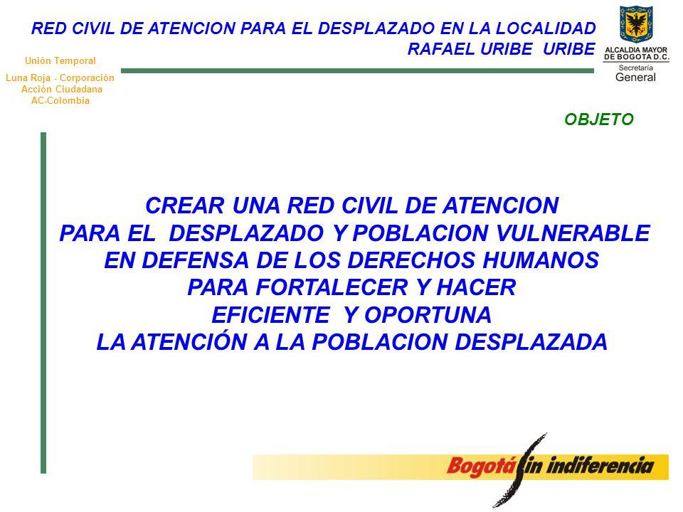 Unión Temporal Luna Roja - Corporación Acción Ciudadana AC-Colombia OBJETO CREAR UNA RED CIVIL DE ATENCION PARA EL DESPLAZADO Y POBLACION VULNERABLE EN DEFENSA DE LOS DERECHOS HUMANOS PARA FORTALECER Y HACER EFICIENTE Y OPORTUNA LA ATENCIÓN A LA POBLACION DESPLAZADA RED CIVIL DE ATENCION PARA EL DESPLAZADO EN LA LOCALIDAD RAFAEL URIBE URIBE
