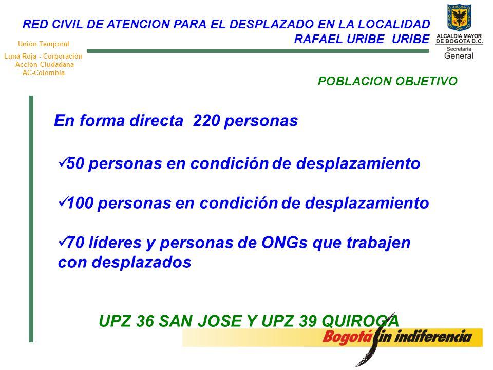 Unión Temporal Luna Roja - Corporación Acción Ciudadana AC-Colombia POBLACION OBJETIVO 50 personas en condición de desplazamiento 100 personas en condición de desplazamiento 70 líderes y personas de ONGs que trabajen con desplazados UPZ 36 SAN JOSE Y UPZ 39 QUIROGA En forma directa 220 personas RED CIVIL DE ATENCION PARA EL DESPLAZADO EN LA LOCALIDAD RAFAEL URIBE URIBE