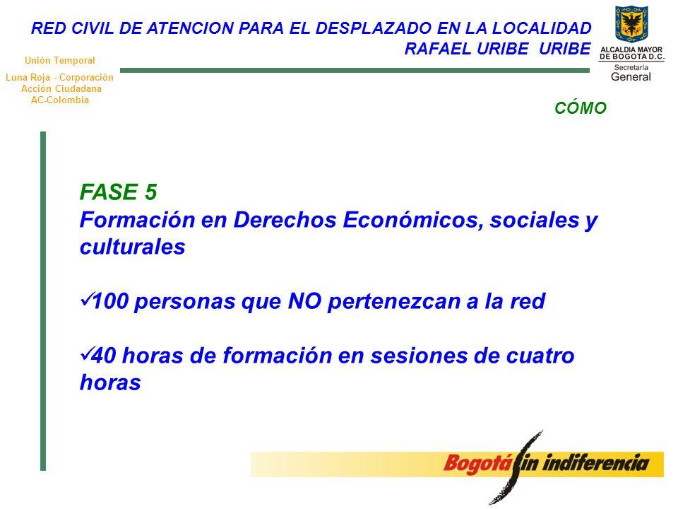 Unión Temporal Luna Roja - Corporación Acción Ciudadana AC-Colombia FASE 5 Formación en Derechos Económicos, sociales y culturales 100 personas que NO pertenezcan a la red 40 horas de formación en sesiones de cuatro horas CÓMO RED CIVIL DE ATENCION PARA EL DESPLAZADO EN LA LOCALIDAD RAFAEL URIBE URIBE