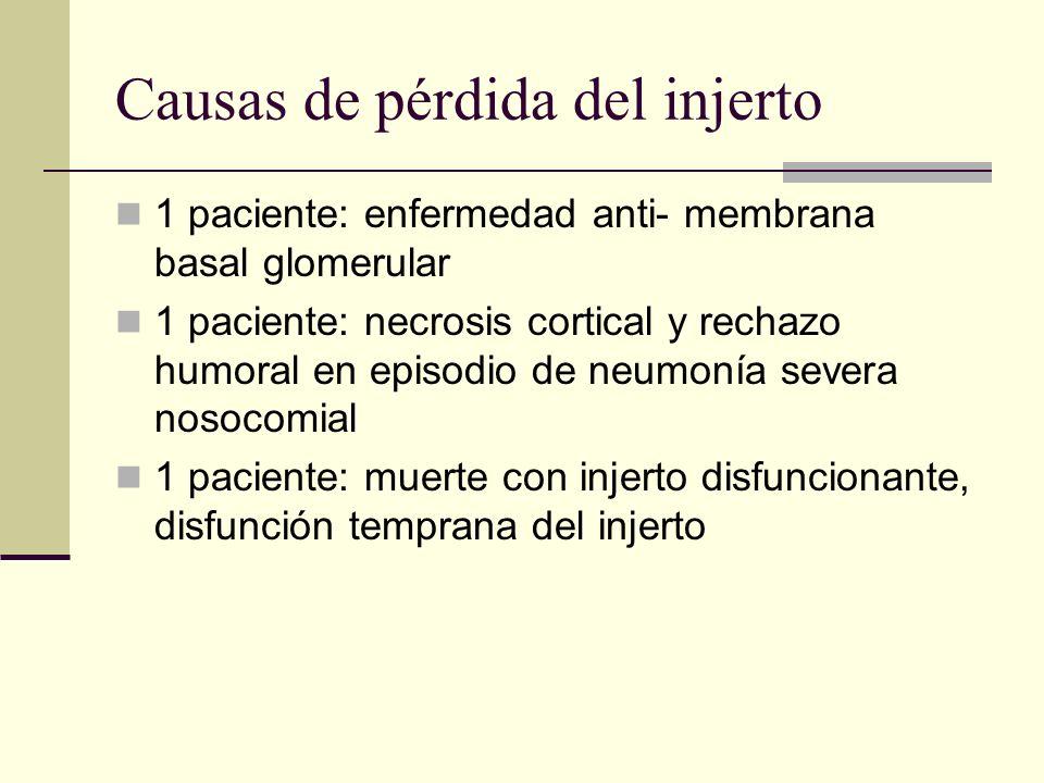 Causas de pérdida del injerto 1 paciente: enfermedad anti- membrana basal glomerular 1 paciente: necrosis cortical y rechazo humoral en episodio de ne