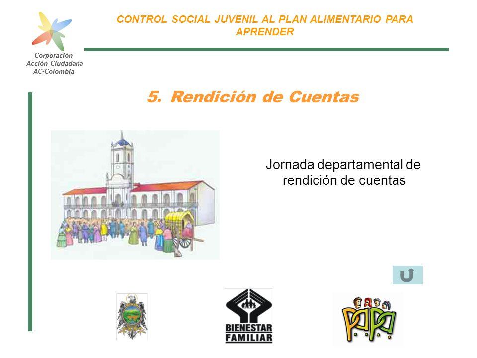 Corporación Acción Ciudadana AC-Colombia CONTROL SOCIAL JUVENIL AL PLAN ALIMENTARIO PARA APRENDER Corporación Acción Ciudadana AC-Colombia 5.Rendición