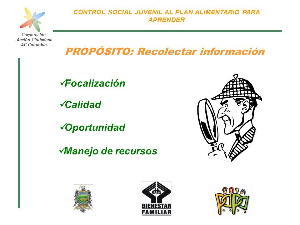 Corporación Acción Ciudadana AC-Colombia CONTROL SOCIAL JUVENIL AL PLAN ALIMENTARIO PARA APRENDER Corporación Acción Ciudadana AC-Colombia PROPÓSITO: