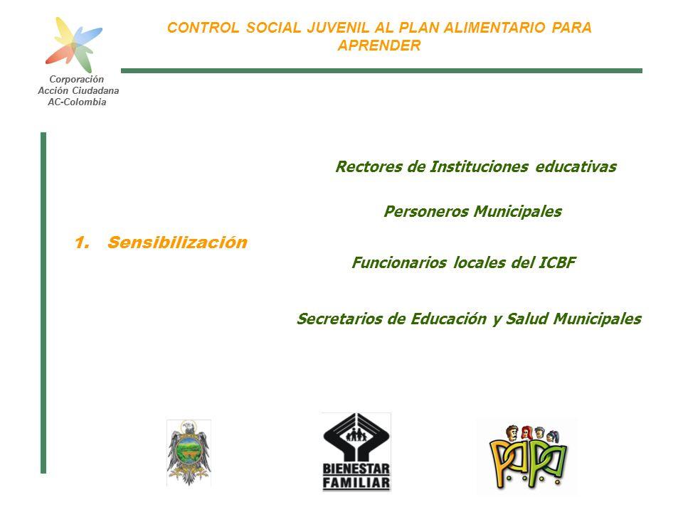 Corporación Acción Ciudadana AC-Colombia CONTROL SOCIAL JUVENIL AL PLAN ALIMENTARIO PARA APRENDER Corporación Acción Ciudadana AC-Colombia Rectores de