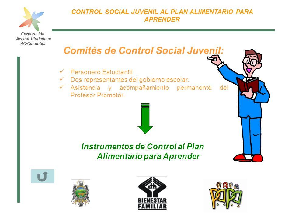 Corporación Acción Ciudadana AC-Colombia CONTROL SOCIAL JUVENIL AL PLAN ALIMENTARIO PARA APRENDER Corporación Acción Ciudadana AC-Colombia Comités de