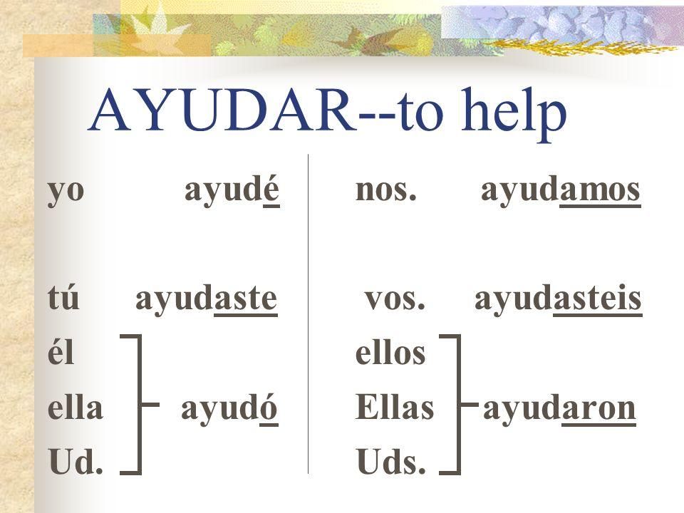 -AR Preterite Endings Lets do a regular -AR verb.