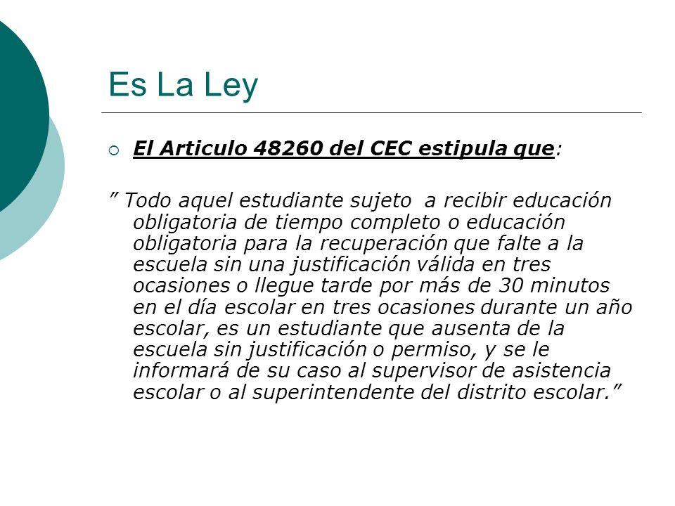 Es La Ley El Articulo 48260 del CEC estipula que: Todo aquel estudiante sujeto a recibir educación obligatoria de tiempo completo o educación obligato