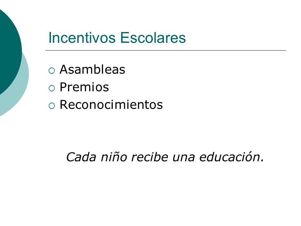 Incentivos Escolares Asambleas Premios Reconocimientos Cada niño recibe una educación.