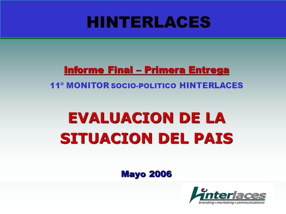 EVALUACION DE LA SITUACION DEL PAIS Mayo 2006 Informe Final – Primera Entrega 11º MONITOR SOCIO-POLITICO HINTERLACES HINTERLACES