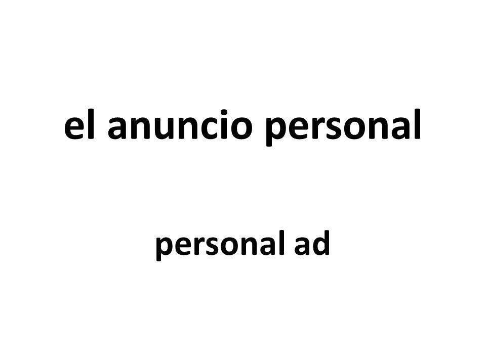el anuncio personal personal ad
