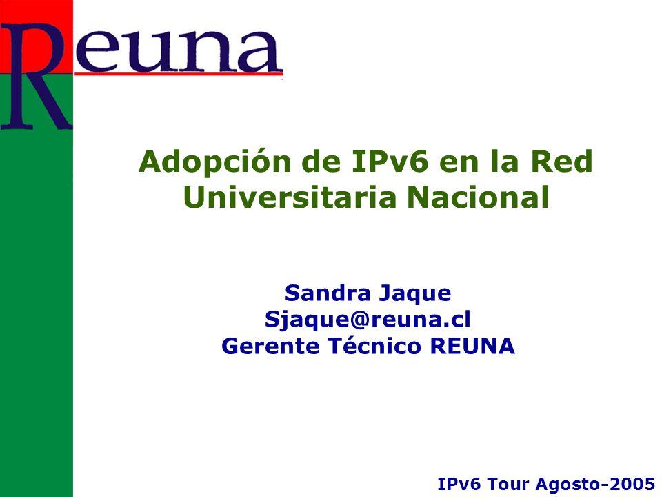 Adopción de IPv6 en la Red Universitaria Nacional Sandra Jaque Sjaque@reuna.cl Gerente Técnico REUNA IPv6 Tour Agosto-2005