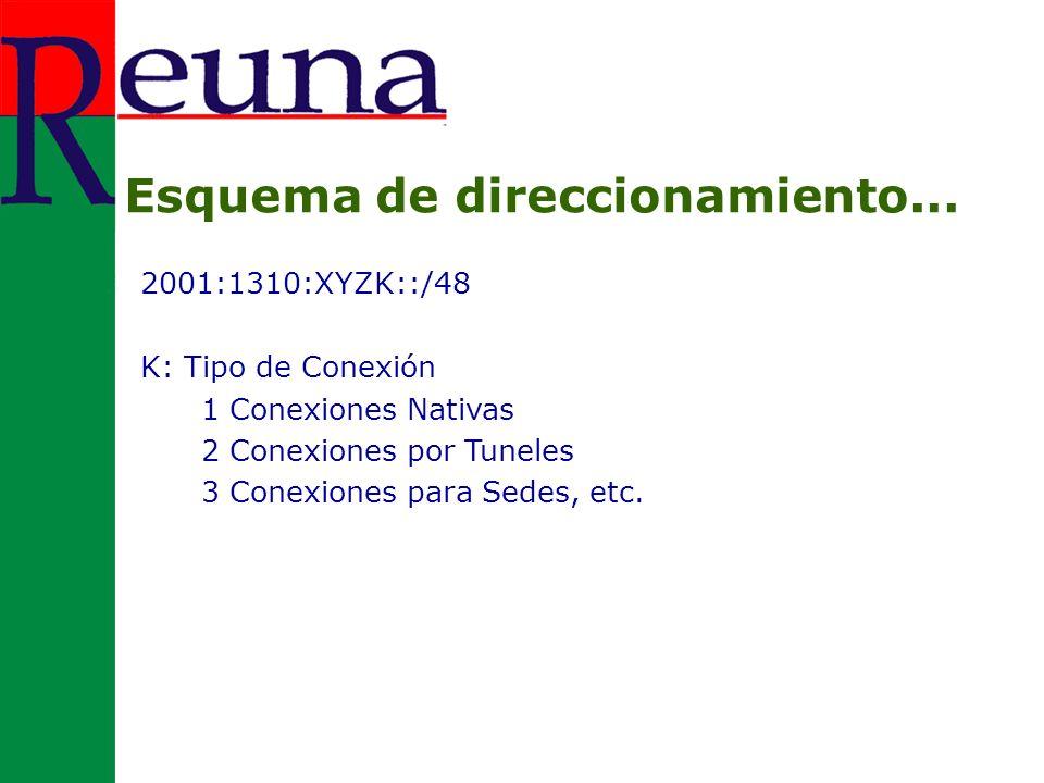 2001:1310:XYZK::/48 K: Tipo de Conexión 1 Conexiones Nativas 2 Conexiones por Tuneles 3 Conexiones para Sedes, etc.