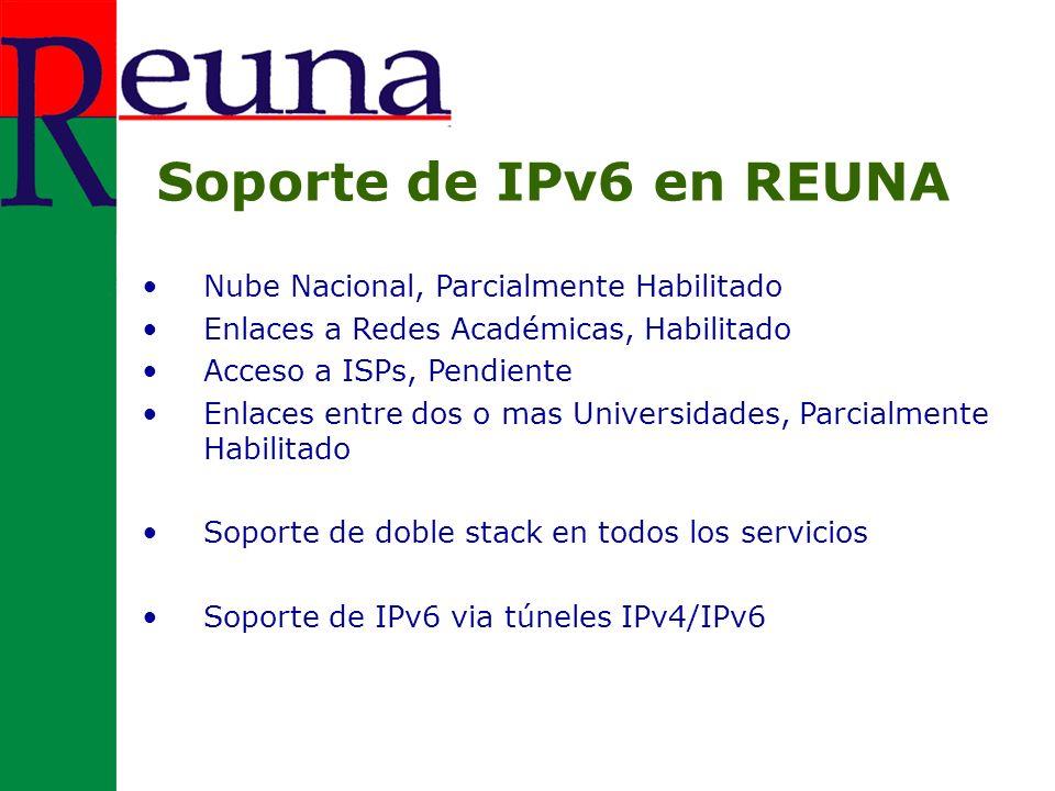 Nube Nacional, Parcialmente Habilitado Enlaces a Redes Académicas, Habilitado Acceso a ISPs, Pendiente Enlaces entre dos o mas Universidades, Parcialmente Habilitado Soporte de doble stack en todos los servicios Soporte de IPv6 via túneles IPv4/IPv6 Soporte de IPv6 en REUNA